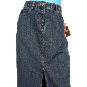 Caslon Dark Blue Denim Modest Midi Skirt 4 S